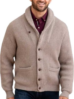 WILLIAM LOCKIE Shawl Cardigan - Mens Windsor 4 Ply Cashmere - 4 Colour Options