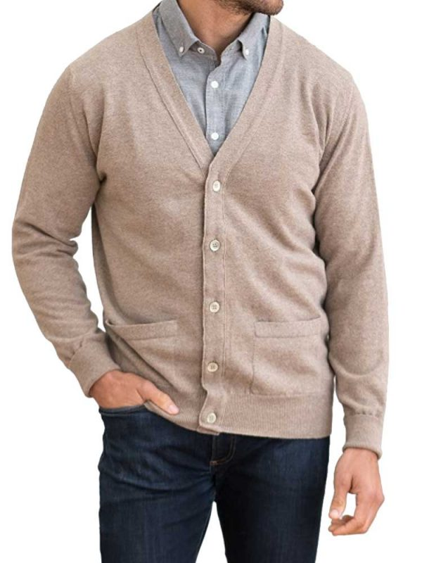 WILLIAM LOCKIE Cardigan - Mens Gordon 1 Ply Geelong - 4 Colour Options
