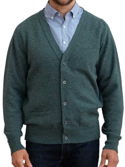 WILLIAM LOCKIE Cardigan - Mens Leven 2 Ply Lambswool - 21 Colour Options