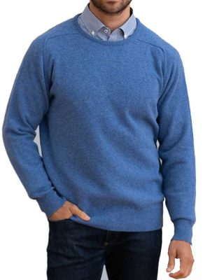 WILLIAM LOCKIE Crew Neck - Mens Leven 2 Ply Lambswool - 35 Colour Options