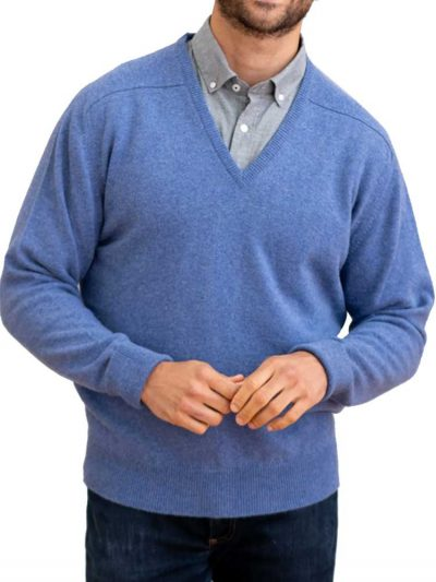 WILLIAM LOCKIE V-Neck - Mens Rob 2 Ply Lambswool - 13 Colour Options
