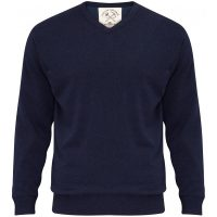 Alan Paine - Shenstone V Neck Jumper with Windblock Lining - Navy
