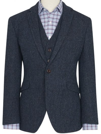 HARRIS TWEED Jacket - Mens Stranrear - Navy Herringbone