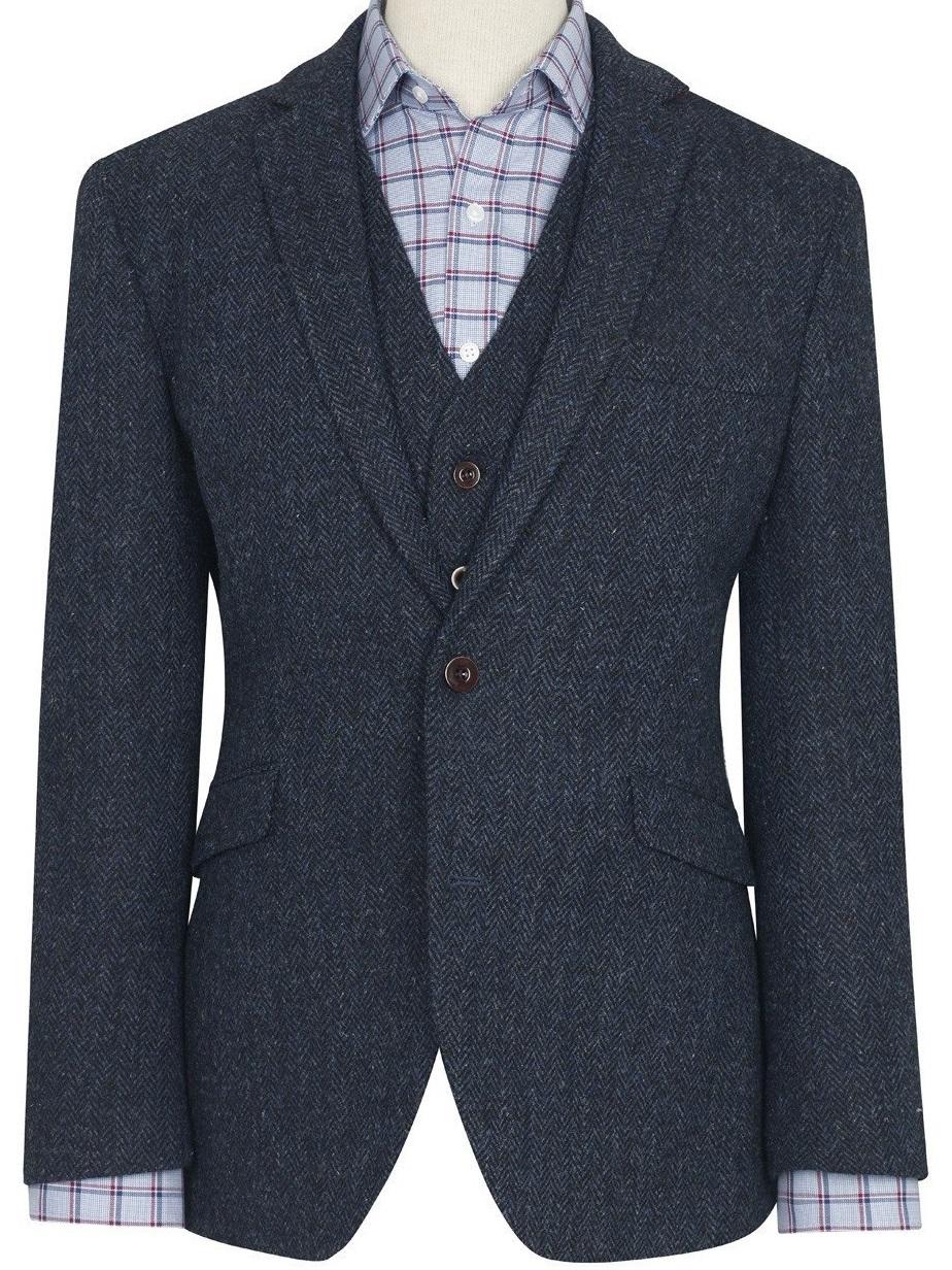 Harris Tweed Stranrear Jacket Navy Herringbone