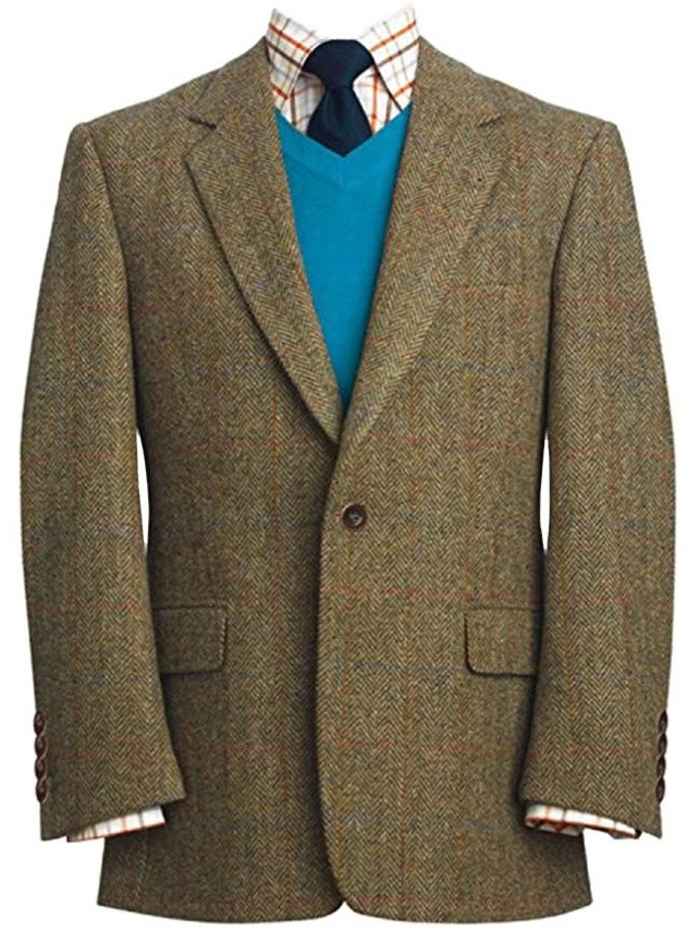 Harris Tweed Stromay Jacket Green With Blue Orange Over Check
