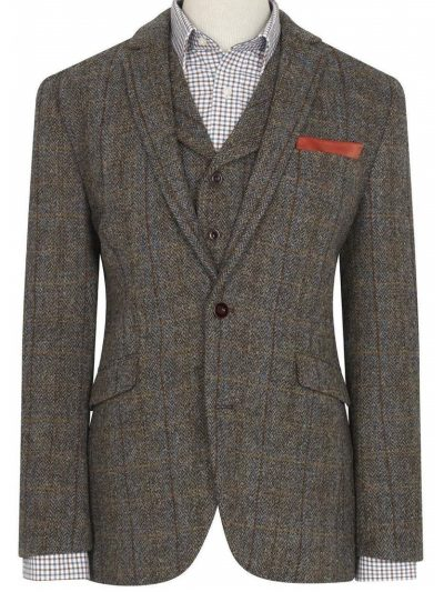 HARRIS TWEED Jacket - Mens Sumburgh - Mid-Brown with Check