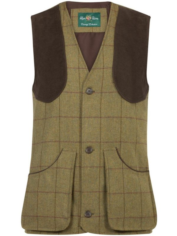 ALAN PAINE Shooting Waistcoat - Mens Rutland Tweed - Lichen