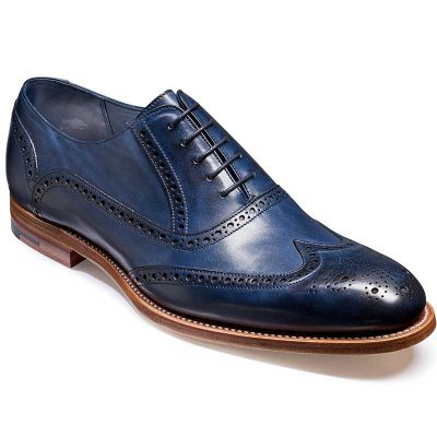 Barker Valiant Brogue Shoes - Navy Hand Painted
