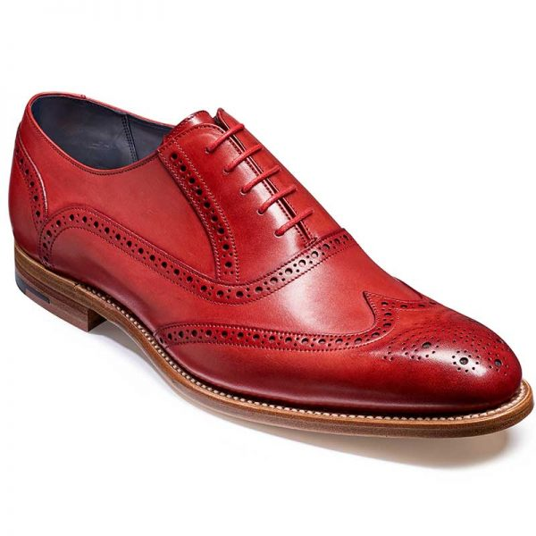 Barker Valiant Brogue Shoes - Red Hand Painted