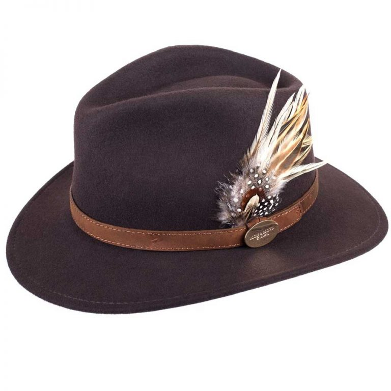 HICKS & BROWN Hat - Ladies Suffolk Guinea and Pheasant Feather Fedora - Dark Brown