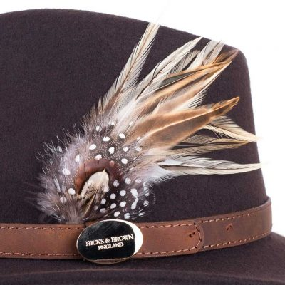 HICKS & BROWN Hat - Ladies Suffolk Guinea and Pheasant Feather Fedora - Dark Brown
