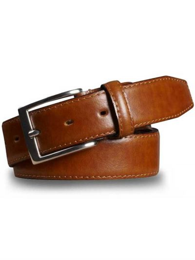Meyer Stretch Leather Belt - Tan