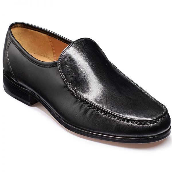 Barker Shoes - Hayden Black Kid Leather - Moccasin Loafer