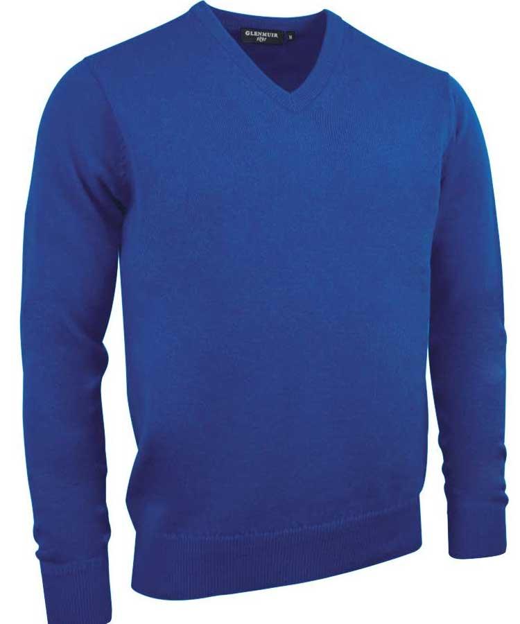 Glenmuir Men's Lomond V Neck Lambswool Sweater - Ascot Blue