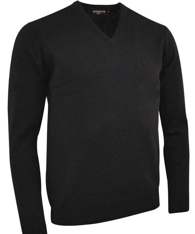 Glenmuir Men's Lomond V Neck Lambswool Sweater - Black