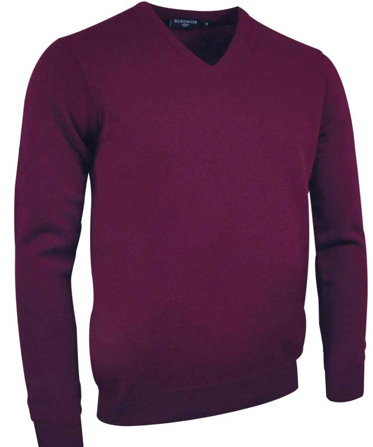 Glenmuir Men's Lomond V Neck Lambswool Sweater - Bordeaux
