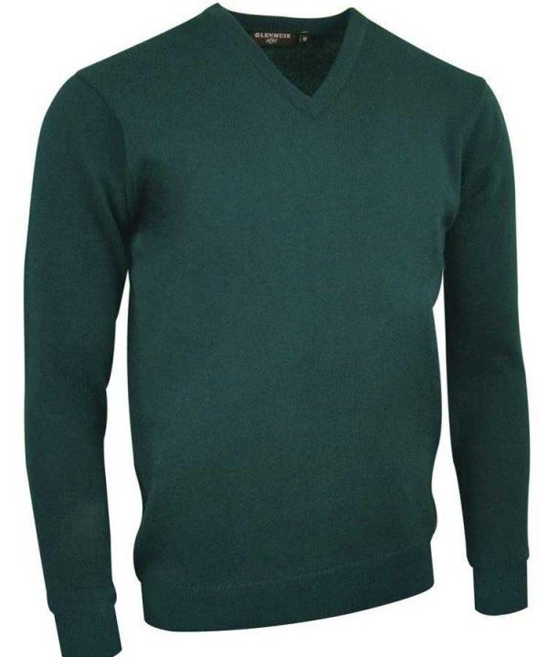 Glenmuir Men's Lomond V Neck Lambswool Sweater - Bottle