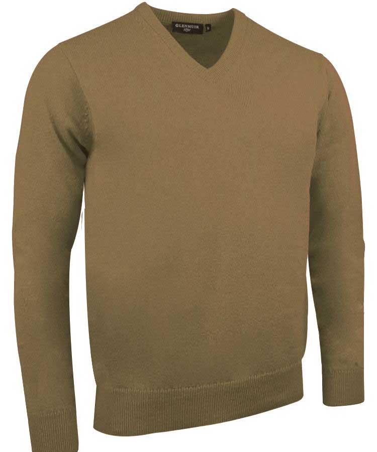 Glenmuir Men's Lomond V Neck Lambswool Sweater - Driftwood