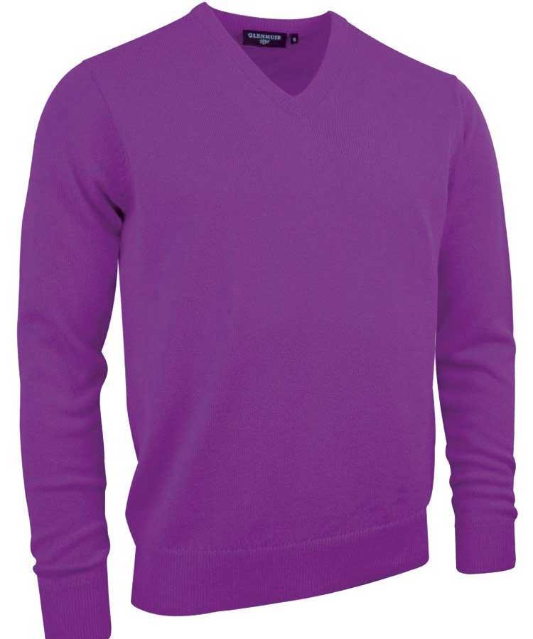 Glenmuir Men's Lomond V Neck Lambswool Sweater - Foxglove