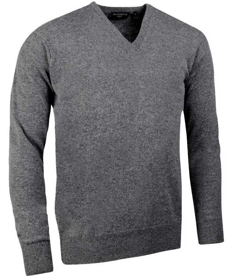 Glenmuir Men's Lomond V Neck Lambswool Sweater - Grey Mix
