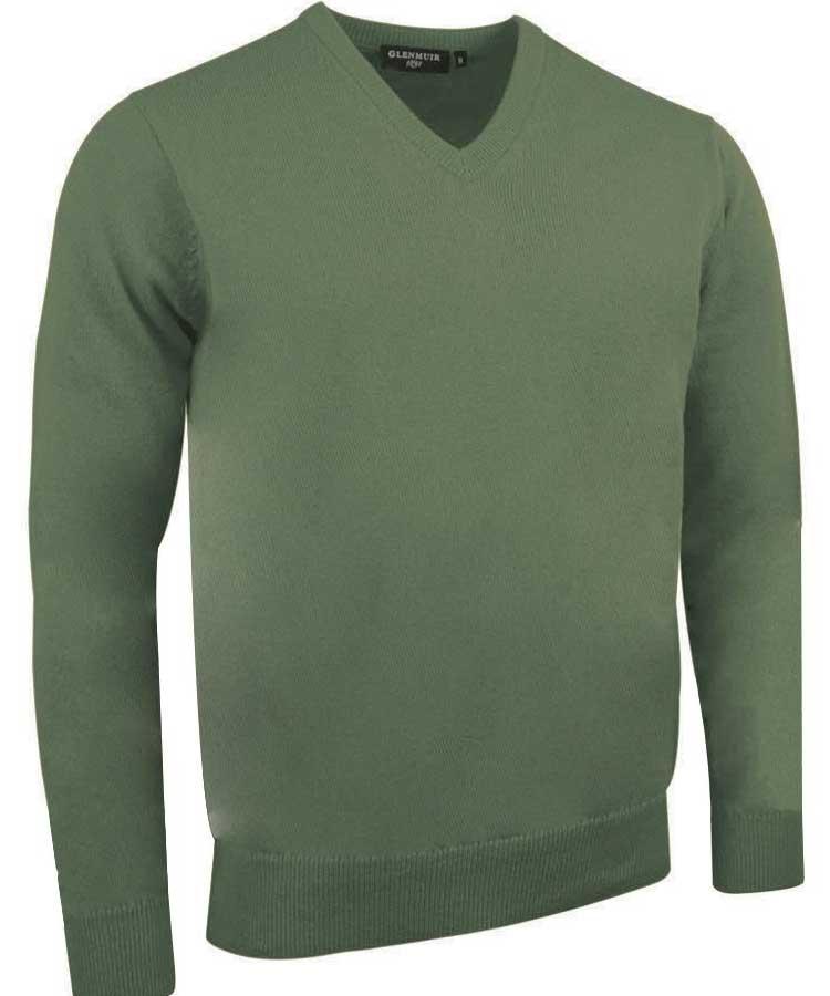 Glenmuir Men's Lomond V Neck Lambswool Sweater - Landscape Green