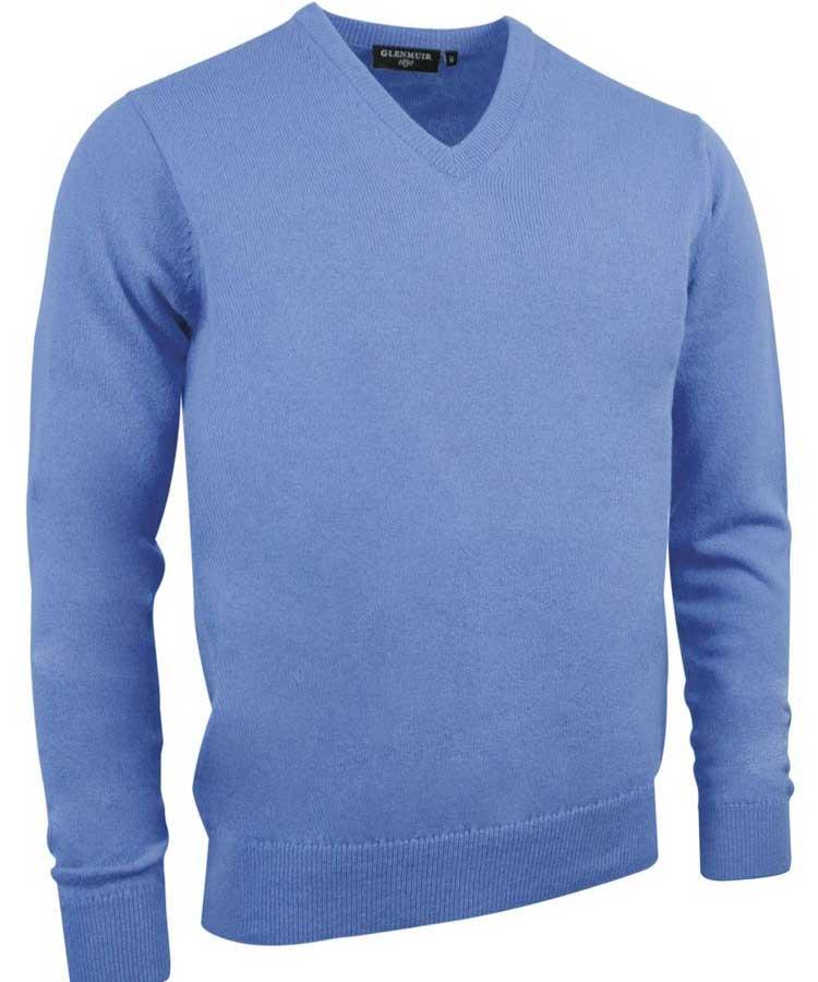 Glenmuir Men's Lomond V Neck Lambswool Sweater - Light Blue