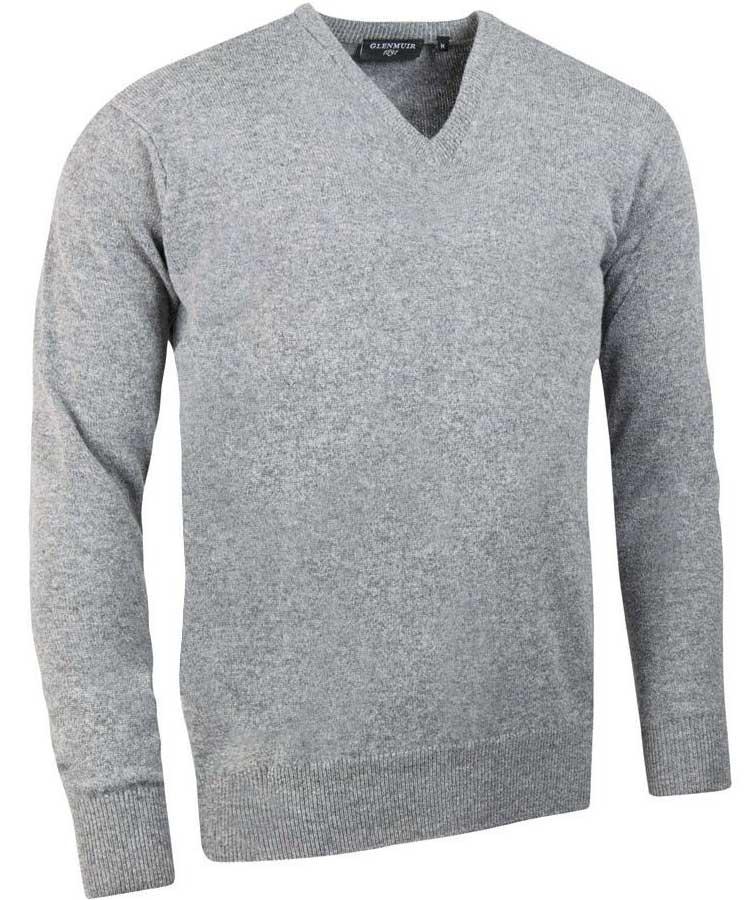 Glenmuir Men's Lomond V Neck Lambswool Sweater - Light Grey