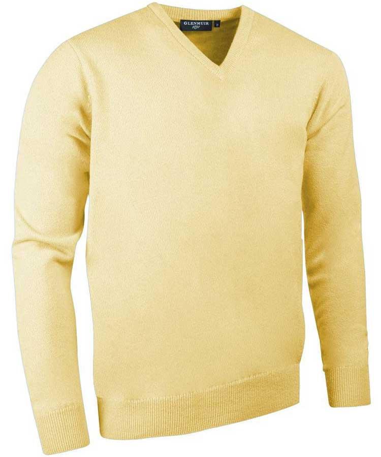 Glenmuir Men's Lomond V Neck Lambswool Sweater - Light Yellow
