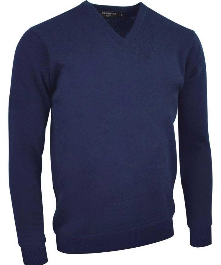 Glenmuir Men's Lomond V Neck Lambswool Sweater - Navy