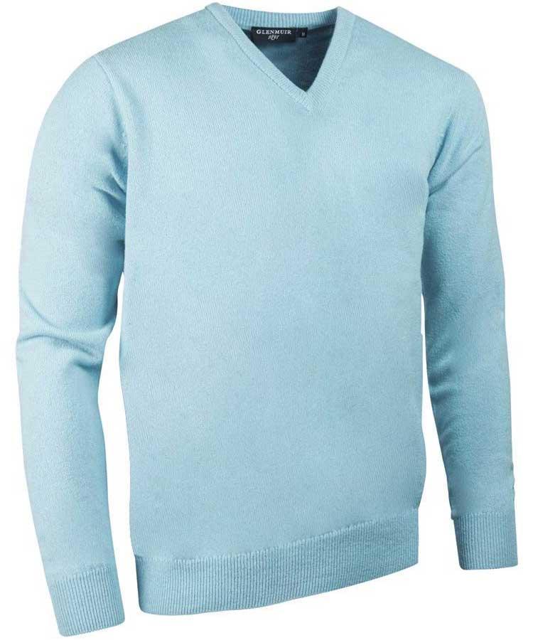 Glenmuir Men's Lomond V Neck Lambswool Sweater - Paradise Blue