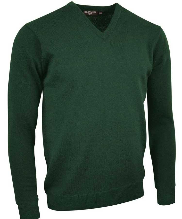 Glenmuir Men's Lomond V Neck Lambswool Sweater Seaweed Green