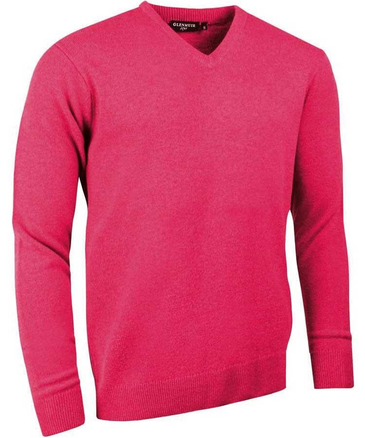 Glenmuir Men's Lomond V Neck Lambswool Sweater Daiquiri