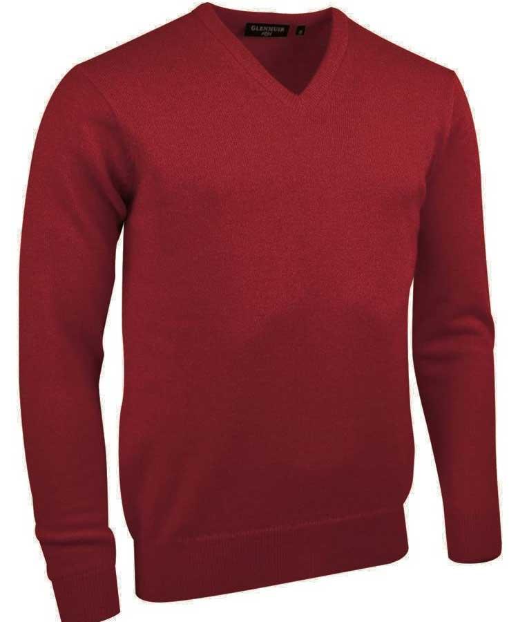 Glenmuir Men's Lomond V Neck Lambswool Sweater - Poppy Melange