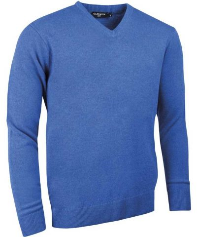 Glenmuir Men's Lomond V Neck Lambswool Sweater - Tahiti