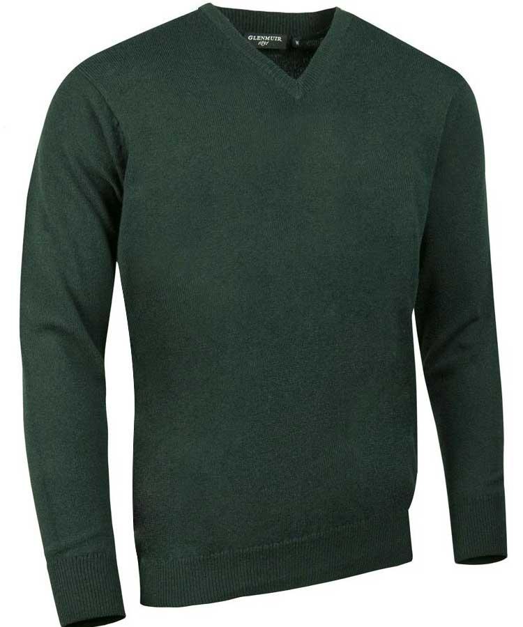 Glenmuir Men's Lomond V Neck Lambswool Sweater - Tartan Green