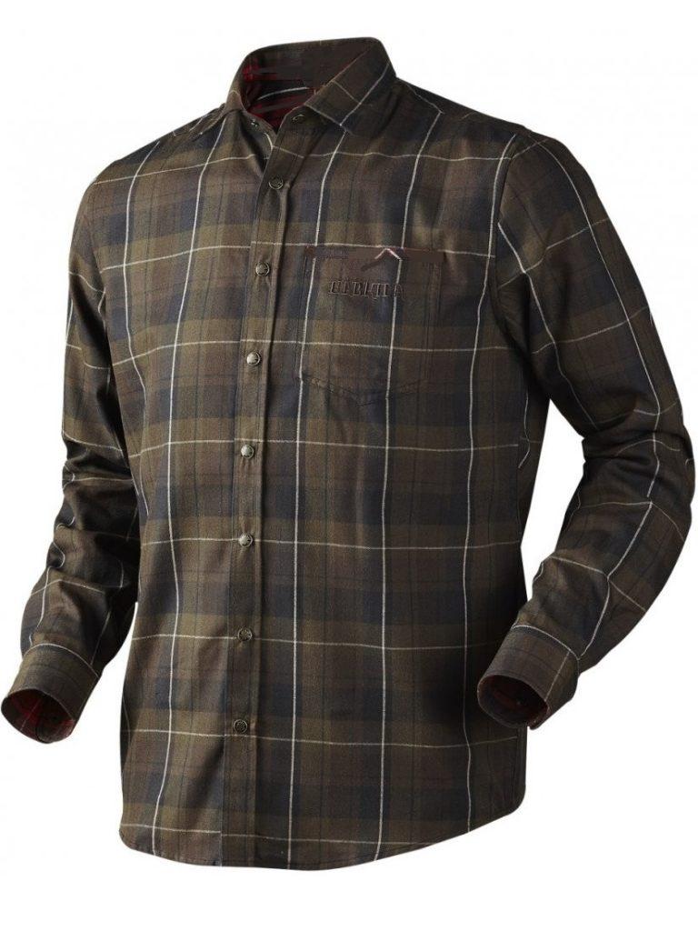 HARKILA Shirt - Mens Hasvik Techwool - Hunting Green Check