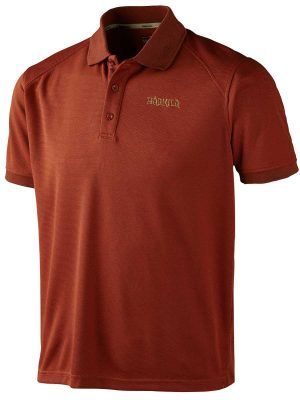 HARKILA Polo Shirt - Mens Gerit Polartec - Burnt Orange