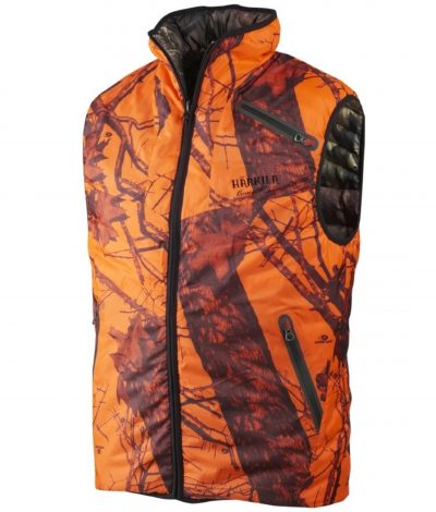 Härkila Moose Hunter Reversible Down Mens Waistcoat - Mossy Oak Break Up / Orange