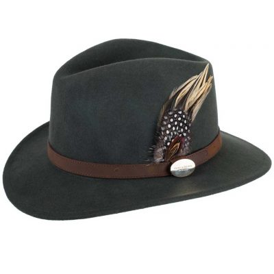 HICKS & BROWN Hat - Ladies Suffolk Guinea and Pheasant Feather Fedora - Olive