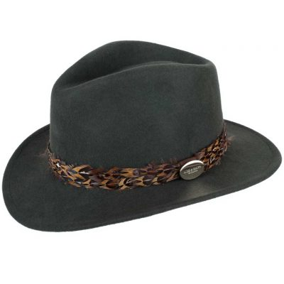 HICKS & BROWN Hat - Ladies Suffolk Pheasant Feather Wrap Fedora - Olive