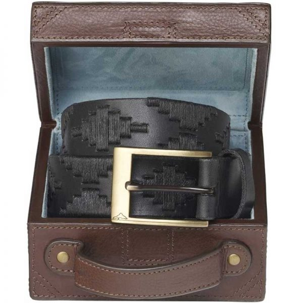 Pampeano - Carbon Polo Belt with Luggage Trunk Gift Box