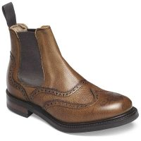 Cheaney Ladies - Victoria R Brogue Chelsea Boot - Almond Grain