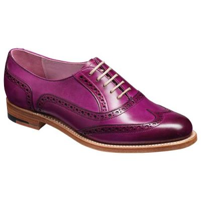 BARKER Fearne Shoes - Ladies Brogues - Purple Hand-Painted