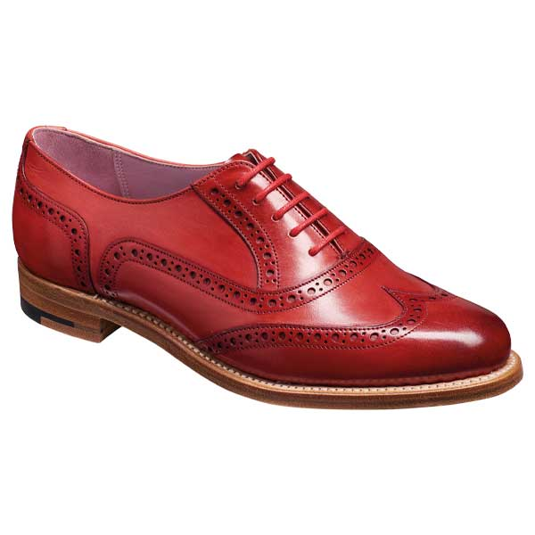 BARKER Fearne Shoes - Ladies Brogues - Red Hand Painted