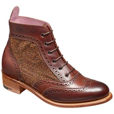 BARKER Grace Boots - Ladies Brogues - Walnut Calf / Brown Tweed