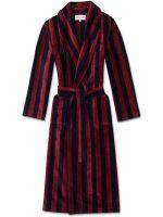 Derek Rose - Aston Men's Cotton Velour Dressing Gown - Multi