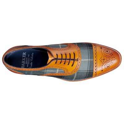 BARKER Hursley Shoes – Semi-Brogues – Cedar Calf & Fabric