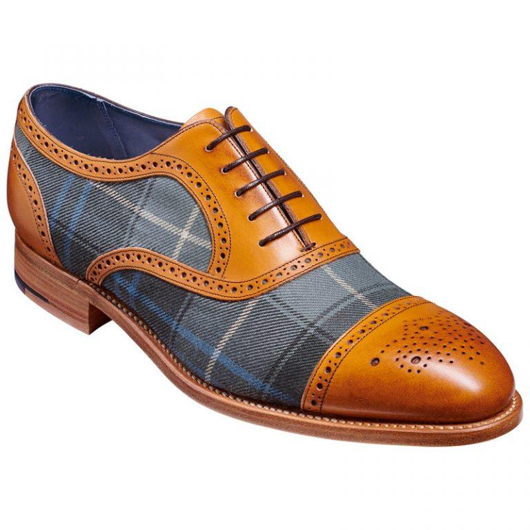 BARKER Hursley Shoes – Semi-Brogues – Cedar Calf & Fabric