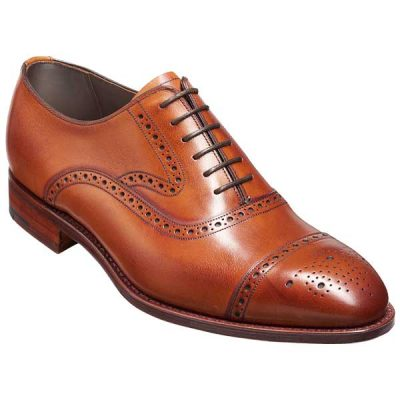BARKER Lerwick Shoes - Mens Oxford Brogues - Antique Rosewood Calf