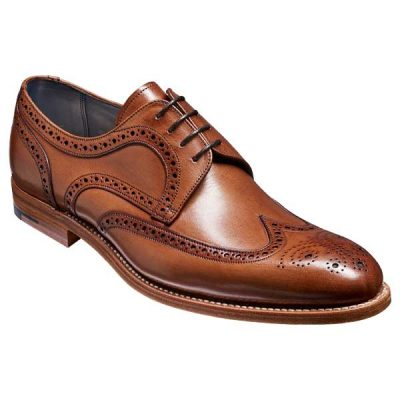 BARKER Victor Shoes - Mens Brogue Derby - Brown Hand Painted